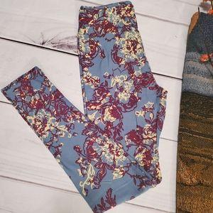 Lularoe OS NWT Leggings Floral Teal burgundy